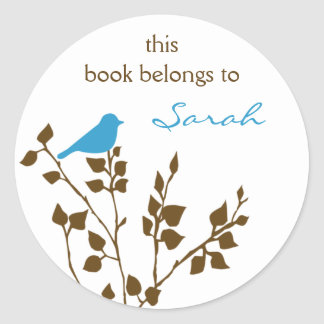 Library Blue Brown Bird Book Stickers