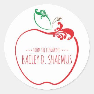 library book flourish apple stamp classic round sticker