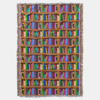 Library Book Shelf Pattern for Readers Throw Blanket