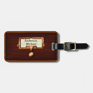 Library Book Wood Card Catalog Drawer | Add Name Luggage Tag