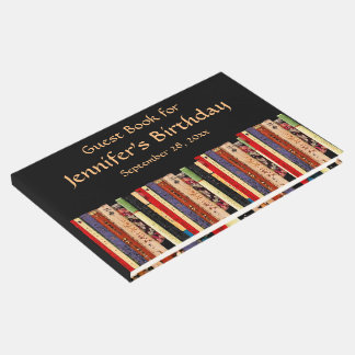 Library Books Abstract Birthday Party Guest Book