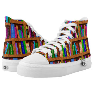 Library Books Bookshelf Pattern Colorful Readers High Tops