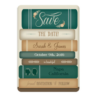 Library Books Save the Date Card