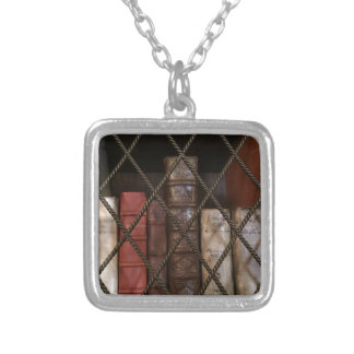 Library bookshelf silver plated necklace