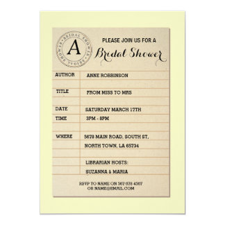 Library Card Book Bridal Shower Book Party Invite