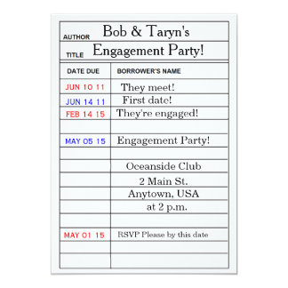 """Library Card"" Engagement Party Invitations"