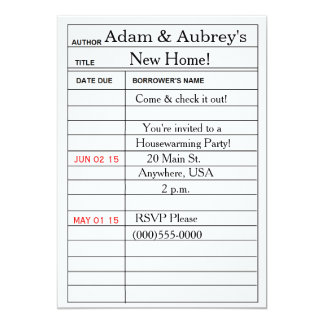 """Library Card"" Housewarming Invitations"