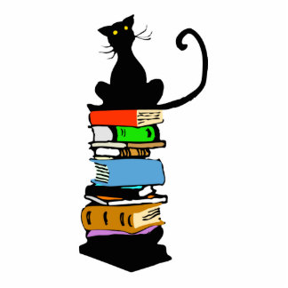 Library Cat Standing Photo Sculpture