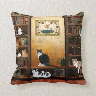 Library cats cushion
