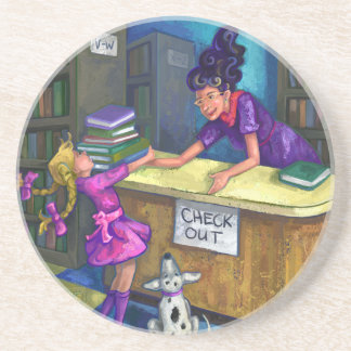 Library Check Out Artwork Coaster