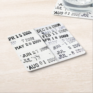 Library Date Stamps Paper Drink Coasters Square Paper Coaster