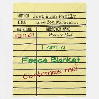 Library Due Date Card Fleece Blanket -Customize It