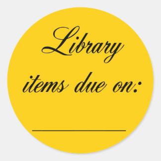 Library Due Date Reminder Round Sticker
