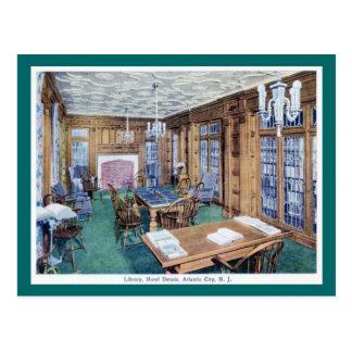 Library, Hotel Dennis, Atlantic City 1926 Vintage Postcard
