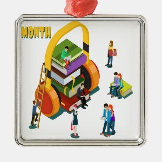 Library Lovers' Month - Appreciation Day Metal Ornament