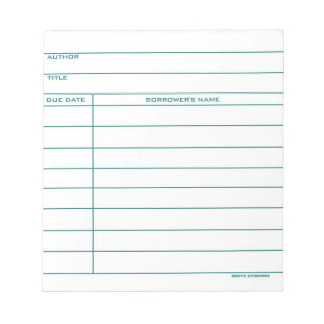 Library Pocket Card - Blue Notepad