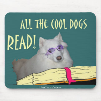 Library - Samoyed - Cool Dogs Read Literacy Mouse Pad