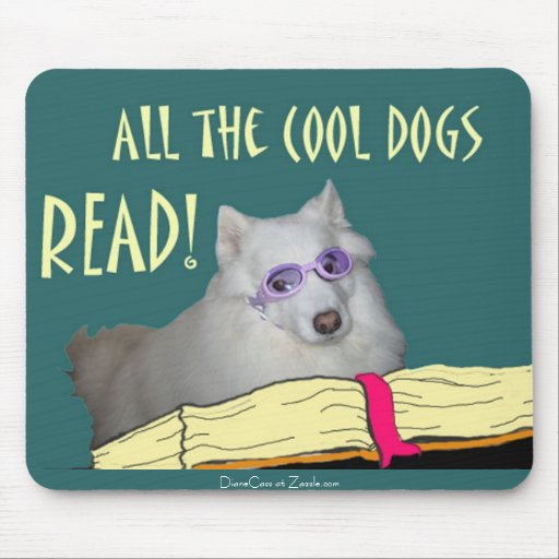 Library - Samoyed - Cool Dogs Read Literacy Mousepad