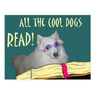 Library - Samoyed - Cool Dogs Read Literacy Postcard