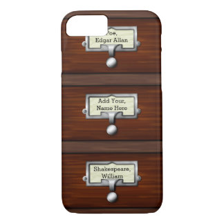 Library Vintage Card Catalog Book Drawers | Name iPhone 7 Case