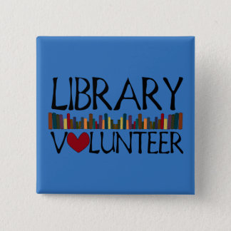 Library Volunteer Books - Change Colour 15 Cm Square Badge