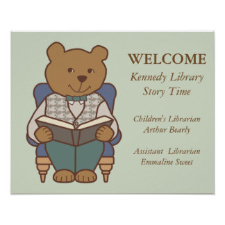 Library Welcome Bear Reading Poster