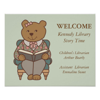 Library Welcome Lady Bear Reading Poster