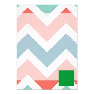 Libya Flag Box on Colorful Chevron 13 Cm X 18 Cm Invitation Card