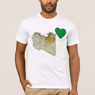 Libya Flag Heart and Map T-Shirt