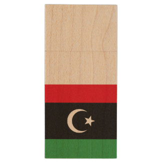 Libya Flag Wood USB Flash Drive
