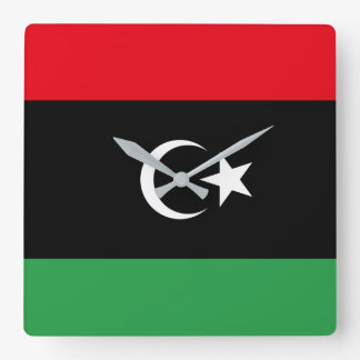 Libya National World Flag Square Wall Clock