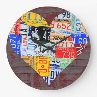 License Plate Art Recycled Vintage Clock