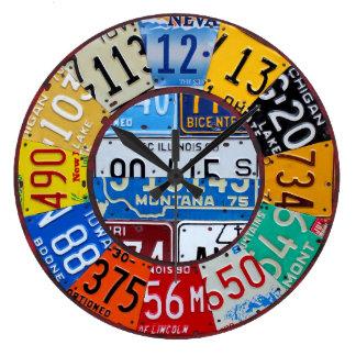 License Plate Clock Vintage Numbers Car Tag Art