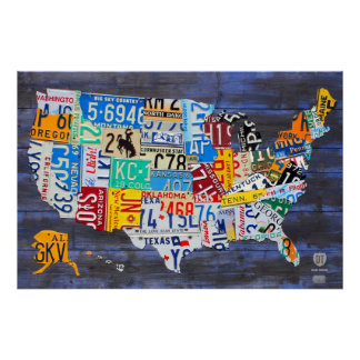 License Plate Map of the United States Blue Ed. 13 Poster