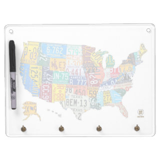 License Plate Map of the United States Board Dry Erase Board