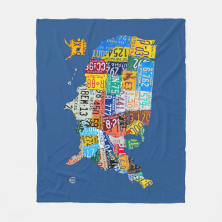 License Plate Map of the USA Blue Fleece Blanket