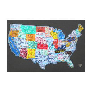 License Plate Map of the USA on Gray Canvas Print