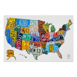 License Plate Map of the USA on White 2014 Poster