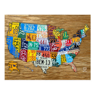 License Plate Map of the USA Travel the 50 States Postcard