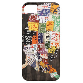 License Plate Map of the USA - Warm Colors / Black Case For The iPhone 5