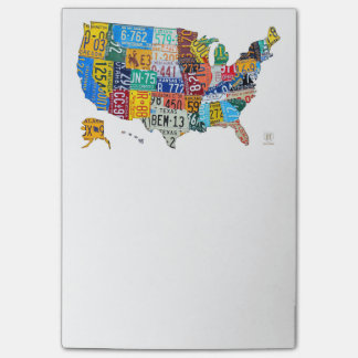 License Plate Map USA on White by Design Turnpike Post-it® Notes