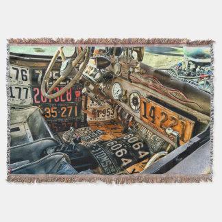 License Plate Motorhead Throw Blanket