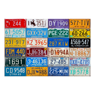 License Plates of USA - Our Colorful History v3 Poster