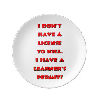 License to kill text plate