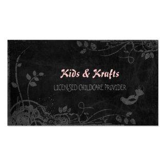Licensed Childcare Provider Cute Floral Blackboard Business Cards