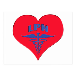 Licensed Practical Nurse LPN Caduceus Heart Postcard