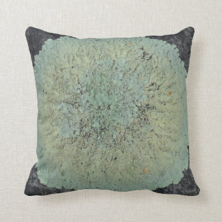 lichen circle almost solid teal green blue gray throw pillow