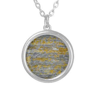 lichens on granite stone silver plated necklace