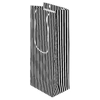 Licorice Black and White Cabana Stripes Wine Gift Bag