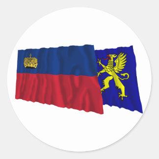 Liechtenstein & Balzers Waving Flags Classic Round Sticker